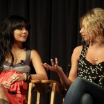 "Actress Vanessa Hudgens (L) and actress Aly Michalka onstage during ""Bandslam"" Reel Thinking Music Awareness Event at The GRAMMY Museum on May 15, 2009 in Los Angeles, California."